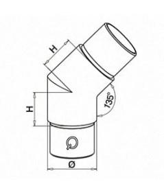 Raccordo in acciaio inox 45° Q-Railing Mod 0300